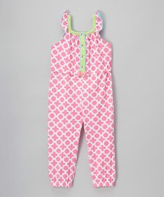 Love this Pink Quatrefoil Jumpsuit - Toddler & Girls by Nannette Girl on #zulily! #zulilyfinds