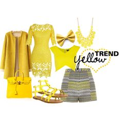 """Yellow"" by rea-jain on Polyvore"