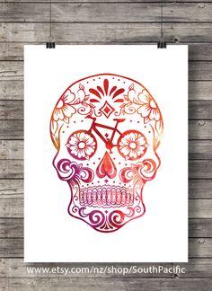Printable art | Watercolor Sugar Skull - Bike parts - bicycle sugar skull -Printable wall art - Instant download digital print