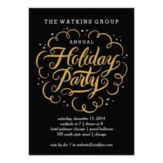 Elegant hand-lettering is surrounded by flourishes. Scripted Fete Holiday Party Invitation Corporate holiday party invites