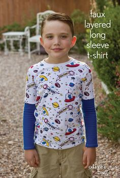 With just a few quick and easy steps you can create a faux layered long sleeve t-shirt using the Oliver + S School Bus T-shirt pattern.