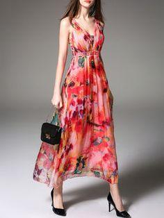 Floral-print Silk Maxi Beach Dress