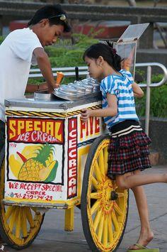 Ice Cream Cart and Girl Philippines Culture, Manila Philippines, Filipino Culture, Chinese Culture, Filipino Funny, Filipino Art, Rizal Park, Ancient Greek Architecture, Frames