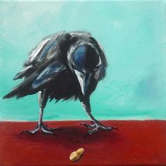 Acrylbild 'Krähe 1' - Angelika Rump