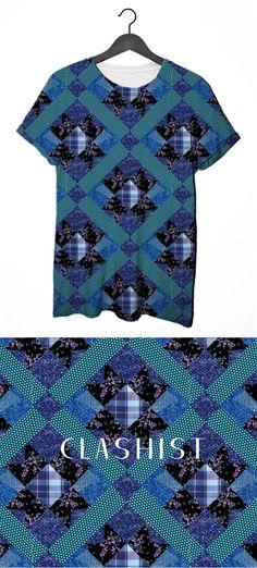 Quiltee #patchwork #denim #indigo #floral #tee