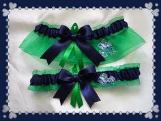 35605fca0886 Notre Dame Green Organza Ribbon Wedding Garter by TheArtofSports Navy  Ribbon, Organza Ribbon, Wedding