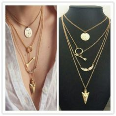5 layer gold multi layer necklace * 3 aviliable * 5 layer gold multi layer necklace Jewelry Necklaces