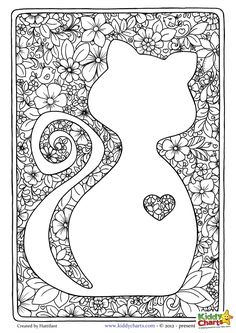 Cat adult coloring page. Beautiful design perfect for mindful coloring. And we have a second one for the kids too if you have any and want to share with them. Download them both now.