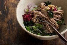 Walnut Miso Noodles via 101 Cookbooks. Superfoods: walnuts, miso, buckwheat noodles, leafy greens, and garlic.