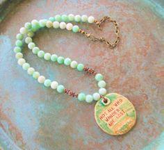 Jade necklace Not all who wonder necklace boho by StoneworksByJan
