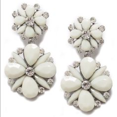"""T+J Designs White Floral Earrings  T+J White Floral earrings with crystal accents    Materials: Resin, Base Metals &        Glass crystals  Nickel free & Lead free  Color is more off white    Perfect for summer  Dimensions: 2.5"""" x 1.25""""  Post back T&J Designs Jewelry Earrings"""