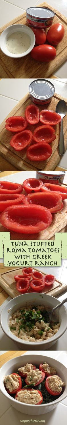 tuna stuffed roma tomatoes with greek yogurt ranch Tempted and Tried: Go Greek or Go Home