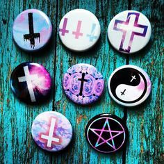 1.25 Pastel Goth Kawaii Set Of 8 Crosses Pinback Buttons by GeekFreakBoutique, $10.00