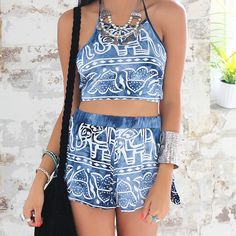 Into The Wild Two Piece Set in Navy Print $64. Bring some festival funk into your everyday wear with this two piece. The eclectic print will set the tone for your entire day. Layer it with lots of jewelry for an effortless yet put together outfit. www.showpo.com #iloveshowpo #showpo