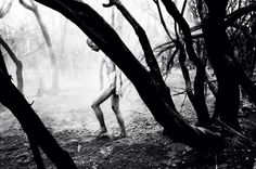 Eli Dijkers #documentary #photography #man #naked #nude #bw #forest #tree #nature #reportage #newyork
