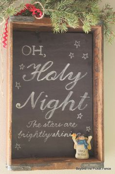 My fave Christmas song. Would love to make or be gifted this :) DIY Beyond The Picket Fence: Chalkboard Sign & An Old Crate Noel Christmas, Merry Little Christmas, Christmas Signs, Country Christmas, Christmas Projects, Winter Christmas, All Things Christmas, Holiday Crafts, Holiday Fun