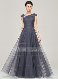 [US$ 158.99] A-Line/Princess V-neck Floor-Length Tulle Mother of the Bride Dress With Ruffle Beading Sequins