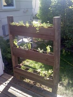 nice vertical planter. need to build some.  from:  www.facebook.com/Recycled.Upcycled