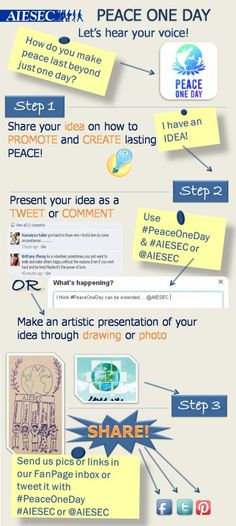 #PeaceOneDay Join our movement and share with us your ideas how to make peace last beyond just one day!