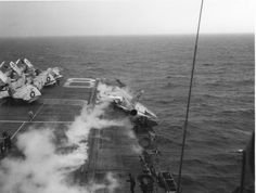 F8U-1 Crusader aircraft of VF-62 in accident off launch of USS ShangriLa (CVA-38). Accident was not fatal. Pilot was CDR J. R. Davis, XO of VF-62