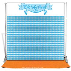 Hosting an Oktoberfest Event? Bier + Guests + DIY Photobooth = EPIC! Traditional Oktoberfest Photo Backdrop  Munich / German pattern photo backdrop and orange runner carpet with banner stand. Do-It-Yourself (DIY) Photobooths / event entrances for bars, restaurants, venues, events, and Oktoberfest parties of all type!  Happy Oktoberfest from Red Carpet Entrances team! Keep your schnitzel in your lederhosen!