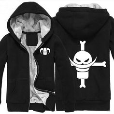 Camplayco One Piece Edward·Newgate Cosplay Black Thick Padded Hoodie Size XXL -- For more information, visit image link.