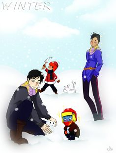 Winter is here (adore the Chairman in the back and how in love Magnus is looking at his Alexander) ... From the hands off umkasandiary ... shadowhunters, alexander 'alec' lightwood, magnus bane, the mortal instruments, malec, max lightwood bane, blueberry, rafael lightwood bane, chairman meow