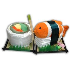 Ultimate Diaper Sushi-sushi diaper cake baby gift present shower puppet set unique onesies lovey blanket