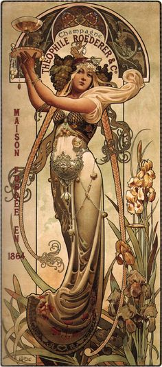 CHAMPAGNE 1897 Vintage Advertising Reproduction Rolled CANVAS ART PRINT 17x33 in #Vintage