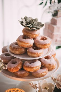 Pink glazed donut wedding sweets: http://www.stylemepretty.com/canada-weddings/ontario/toronto/2015/11/18/multicultural-toronto-wedding/ | Photography: Julius & James - http://juliusandjames.com/