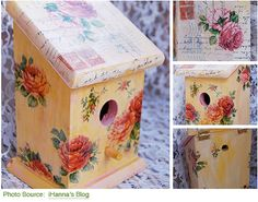 † How To Decoupage Birdhouse - not only is it a tutorial, this link has a gallery of some of the PRETTIEST decoupaged birdhouses I've ever seen. I wanted to pin every one for inspiration!