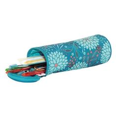 Teal Floral Crochet Hook Case Accessory