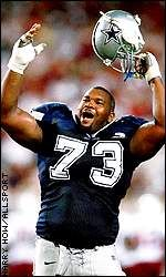 Larry Allen-Offensive Line-Guard  Arguably one of the strongest players ever in NFL history (we tell clancy he has got to play like Cousin Larry)