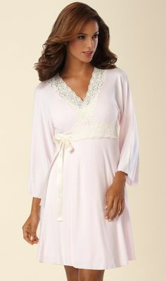 Belabumbum Nursing Robe in Pink with ivory lace from Soma. Sweet vintage style lace makes a pretty statement in this super soft rayon jersey wrap robe.