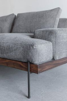 Rivera Sofa, Walnut and Steel Base, Down Cushions - DIY Möbel - Furniture Ikea Furniture, Cool Furniture, Modern Furniture, Furniture Design, Furniture Stores, Furniture Movers, Office Furniture, Furniture Cleaning, Furniture Dolly