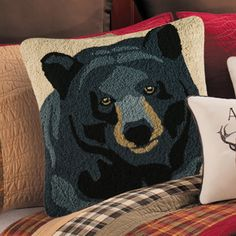 In the Woods Bear Hooked Pillow