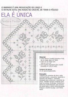 Arte que Faz: Artesanato e Decoração: 120 Gráficos de Crochet de Roupas Baixe Gratis Crochet Edging Patterns, Filet Crochet Charts, Crochet Lace Edging, Crochet Borders, Crochet Designs, Crochet Stitches, Cross Stitch Patterns, Crochet Home, Diy Crochet