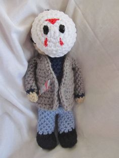 He's still out there!  Jason Voorhees amigurumi.  Pattern or doll.  Stop by my shop! https://www.etsy.com/shop/tiffamis