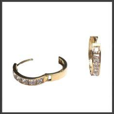 73ba01b42 9ct GOLD hinged Princess cut simulated diamond hoop earrings 16MM x 1 Pair