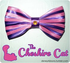 Cheshire Cat Bow by Magical Ribbons Disney Mickey Ears, Disney Bows, Disney Outfits, Easy Hair Bows, Bow Hair Clips, Bow Clip, Purple Ribbon, Purple Satin, Perler Beads
