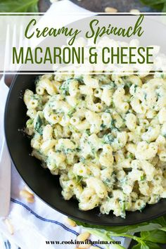 Creamy Spinach Pasta Homemade Mac and Cheese Recipe Spinach Mac And Cheese, Creamy Spinach, Spinach Pasta, Macaroni And Cheese, Mac Cheese, Easy Pasta Recipes, Side Dish Recipes, Great Recipes, Pasta Ideas