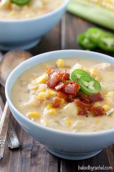Easy slow cooker chicken and corn chowder recipe from Rachel {Baked by Rachel}
