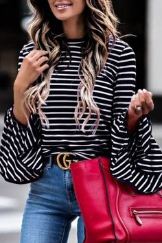 16867943996 Black White Stripe Bell Sleeve Top
