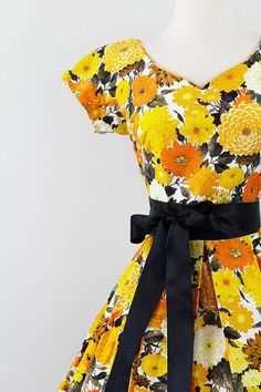 50s marigold dress #vintage