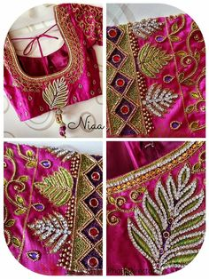 All Ethnic Customization with Hand Embroidery & beautiful Zardosi Art by Expert & Experienced Artist That reflect in Blouse , Lehenga & Sarees Designer creativity that will sunshine You & your Party Worldwide Delivery. Mirror Work Kurti Design, Hand Work Blouse Design, Blouse Back Neck Designs, Designer Blouse Patterns, Fancy Blouse Designs, Bead Embroidery Patterns, Embroidery Works, Simple Embroidery, Hand Embroidery Designs
