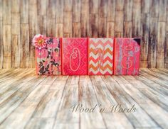 Coral wooden block set for home decor. Visit my FB page www.facebook.com/kimswoodnwords or follow me on Instagram @woodnwords. #woodnwords