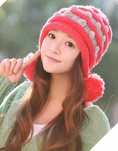Color) New Korean Version of the Fall and Winter Fashion Lady Cute Wool Hat  Knitted Hat Millinery Winter with Pom-poms Ball Top (Red) 8e9d23c63b24