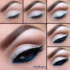 """Stunning """"Pop of Blue"""" pictorial created by  Ely Marino 1.Start by applying Motives Eye Shadow Base  all over the lids. Pat """"Blizzard"""" over top the lid and underneath the brow bone. 2.Apply """"Chocolate"""" eyeshadow  in the crease and blend out any harsh edges.3.Using """"Chocolight""""  apply in the crease to add some Depth. 4.Use """"Luxe Precision Eye Line""""  to add your winged liner and for a pop of color. Add """"Electric Blue"""" Khol eyeliner to the water line and underneath the lower lash line."""