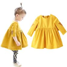 Baby girls yellow cute Dress long sleeve cotton Princess Dresses baby kids clothes autumn children clothing kids clothes for 2-8(China (Mainland))