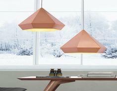 Diamond facet lamps in pastel  scandinavian colors | TOP 50 MODERN SUSPENSION LAMPS http://www.homedesignideas.eu/top-50-modern-suspension-lamps/